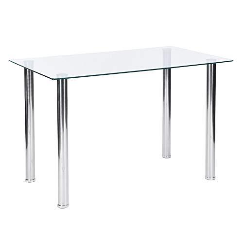 Aingoo Tavolo da Pranzo in Vetro Moderno per Il Tempo Libero tè da Cucina Tavolo da Cucina Tavolo da tavolino Solido Tavolo da Bar 110 * 70 * 76.5 CM