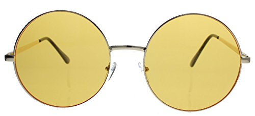 Oversized Lennon Style Damen Sonnenbrille im 60er 70er Jahre Hippie Style FARBWAHL LXL (Gold hell/Amber)