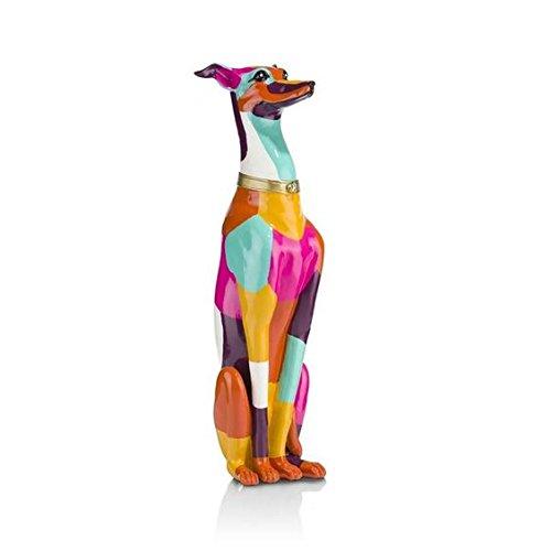 """COCOMaison \""""Sitzender Hund Statue als Dekoration, Hundefigur in modernem Design in bunt - Handbemalt, Skulptur aus Polyresin, Sitting Dog Sculpture - Figur in XL Größe 66x17x14 cm"""