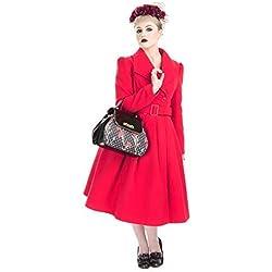 H&r London Vintage Años 50 Estilo Swing Abrigo - UK 16 (XL) / Rojo