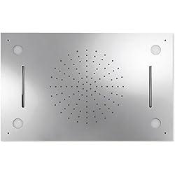 Rociador ducha INOX a techo CROMOTERAPIA Anticalcárea de 3funciones (lluvia/cascada/cromoterapia). 500x800mm. Alimentación mediante 3 vías de agua independientes. La luz, previa conexión a corriente, se activa manualmente mediante interruptor.