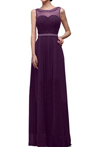 Milano Bride Elegant Rundkragen Chiffon Abendkleid Partykleid Strass Pailette Bodenlang Guertel Faltenwurf Traube
