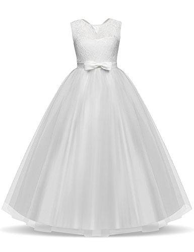 NNJXD Mädchen Kinder Spitze Tüll Hochzeit Kleid Prinzessin Kleider Größe (160) 10-11 Jahre Weiß