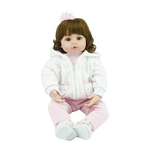 Meiqqm Babypuppe Weichkörper,23 Zoll Silikon Lebensechte Puppe Streifen Kleidung Rosa Hosen Mit Kapuze Mantel Schuhe Haarspange Frühen Kindheit Kinder Baby Spielzeug