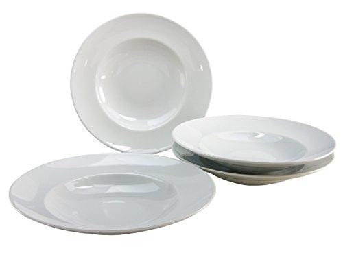 Creatable 17867, Série Europa Blanc, Assiette Ronde de pâtes, 4 pièces, Porcelaine, 32 x 32 x 12 cm