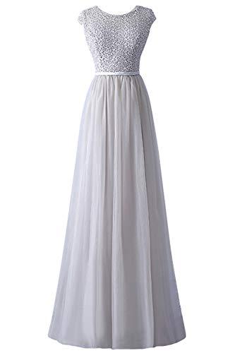 Babyonlinedress 2019 Ballkleid Abendkleid Festliches Kleider Mit Ärmel Applique Tüll Abschlusskleid Maxilänge Silber 42