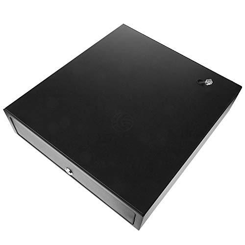 BeMatik   Cajón portamonedas Negro automático RJ11 para Impresora TPV POS para Billetes y Monedas