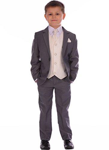 Jungen-Klage-5pc Mid Grau Ausgestattet Suit Mit Sahne Weste, Halstuch und Pocket-quadratische Hochzeits Pageboy formale Klage 0-3m, um 14-15 Jahre (Sahne Ausgestattet)