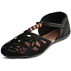 Myra Women Black Flat Sandal Classic Casual Wear (MSX508C1S5)