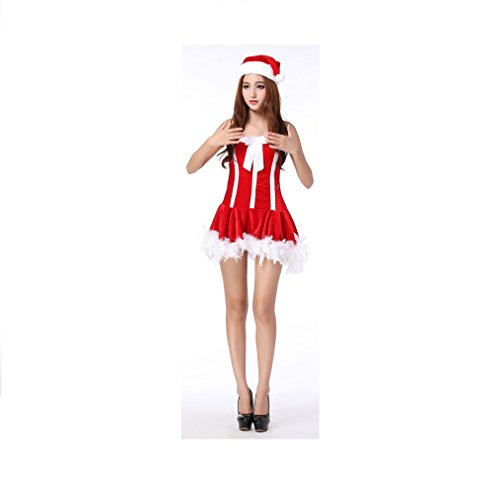 ShangRui Frauen-Performance-Kostüme, Köder Nachtclubs Kleidung, Cosplay Flugbegleiter Uniformen (Anzug Weihnachtself)