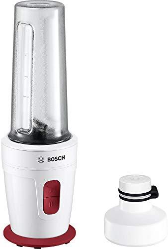 Bosch MMBP1000 - Licuadora 0,5 L, Botones, Batidora de vaso, Rojo, Blanco, De plástico, Acero inoxidable...