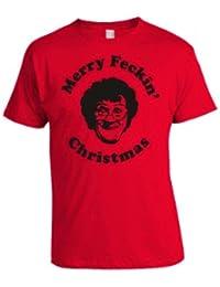 Mrs Browns Boys Merry Feckin Christmas T-Shirt (Black on Red)