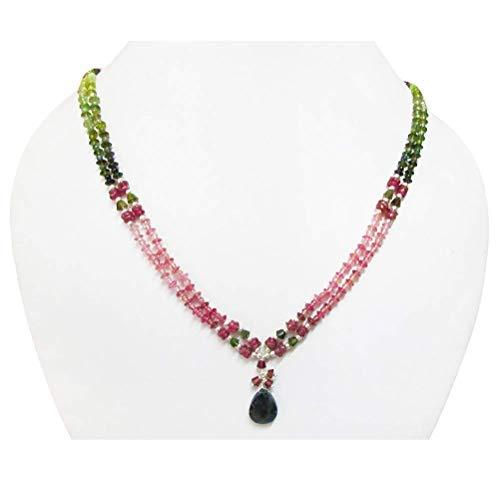 Wassermelone Turmalin Anhänger Perlen Halskette Sterling Silber Anweisung Schichtung Perlen Schmuck