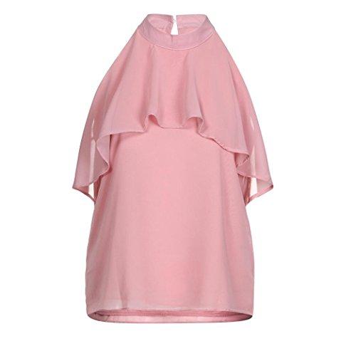 OSYARD Damen Chiffon Solid Halfter Flare Rüschen Rollkragen Bluse Top Shirts Tank Weste(EU 42/M, Rosa) (Flare Jeans Herz)