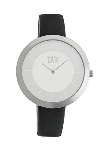 Davis 2031 - Montre Design Femme Extra Plate Cadran Acier Bracelet Cuir Noir