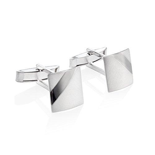 STERLL Herren Manschettenknöpfe Silber Echt Gebürstet mit Oxidiertem Streifen Geschenkverpackung Geschenkideen für Männer