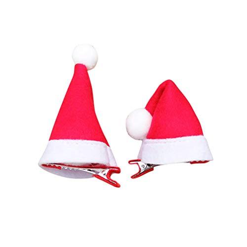 Lurrose 10 Stück Mini Weihnachtsmütze Santa Hut Haarspangen Haarnadeln Kinder und ()