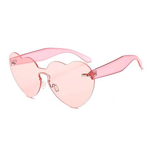Aolvo Herz-Sonnenbrille, randlos, 2018, in Herzform, Transparent, für Mädchen, Damen, Herren, hellrosa