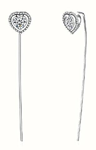 SaySure - 925 Sterling Silver Sparkling Love 5CM Long Drop Earrings