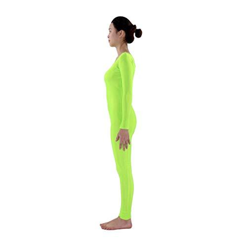 Baoblaze Erwachsener Kinder Catsuit Bodysuit mit Rundhals Kostüm Zentai Ganzkörperanzug Langarm Ballett Trikot Gymnastikanzug Gymnastik Tanz Sport Suit - Neongrün, S