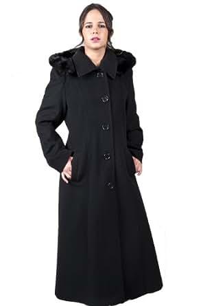 De la Creme - Manteau Femme Laine Noire Ruban Bordure Fausse Fourrure Coupe Longue Taille : 38 - 54 - Noir, 38