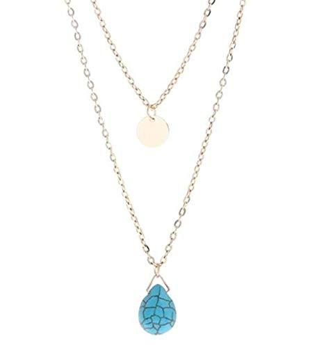 DIOOR Joyería para Mujer Regalos para Mujer Niñas Cristal Plata Oro Colgante Collar Tear Drog Colgante Collar