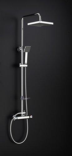 DP Grifería- Azabache, Set de ducha extensible con grifo termostático redondo incluido, plateado