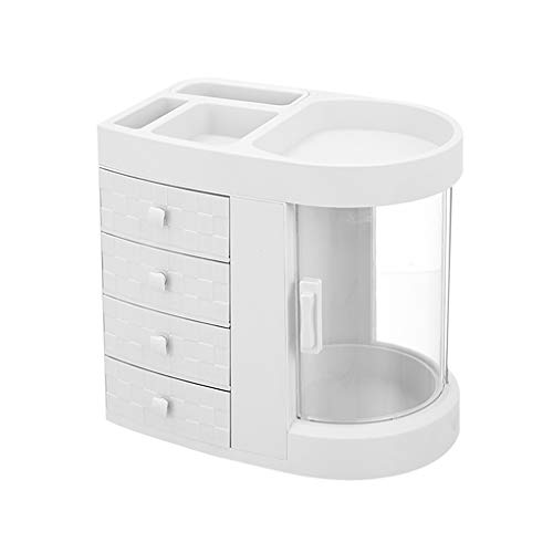 Freistehende Badezimmer-spiegel (DONGANQI Kosmetische AufbewahrungsboxHigh Capacity Desktop staubdicht Haushalt Schmuck Schublade Typ Box Transparent Regal Badezimmer,White)