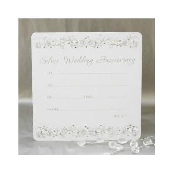 Silver wedding anniversary invitations pack of 10 amazon silver wedding anniversary invitations pack of 10 stopboris Images