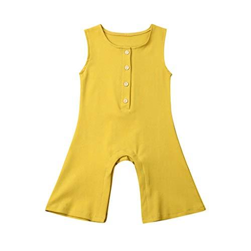 Livoral Kleinkind Overalls, Feste Hosen Farbe Stück Ärmel Baby Mädchen lose Hosen Kleidung(Gelb,12-18 Monate)