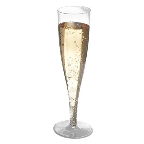 Crystal Clear Champagner Kunststoff Flöten (24Stück) von D2Direct   Einweg, beständig & elegantes  premium Qualität hartem Kunststoff Gläser für Partys & hochzeitsempfänge   Get 32Für den Preis von 24 (Besteck Tfal)