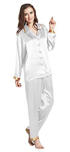 LILYSILK Ensembles de Pyjama en 100% Soie de Mûrier pour Femme 22 Momme Poignets Dorés Blanc