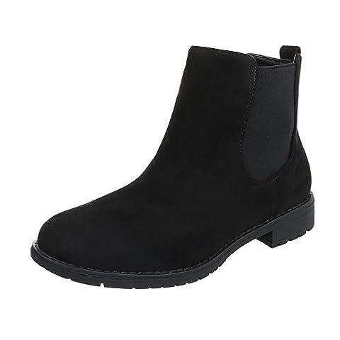 Chelsea Boots Damen-Schuhe Chelsea Boots Blockabsatz Blockabsatz Ital-Design Stiefeletten Schwarz, Gr 39, Zy9092-