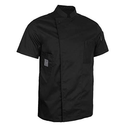 Baoblaze cappotto cameriere manica corta cuoco abbigliamento da uomo donne chef - nero, xl