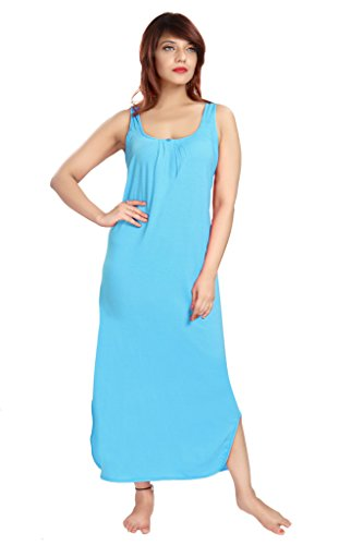 100% Cotton Women's Regular Fit Nighty Gown Slip in Light Blue Color With Broad Strapes & Round Neck Night Inner Wear in Size XXL by City Girl PLUS  available at amazon for Rs.325