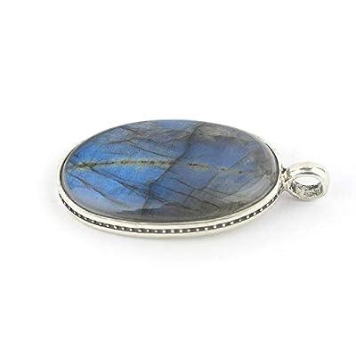 """Pendentif de minéral Labradorite avec reflet bleu, de forme ovale serti d'argent 925, 27x17x5 mm (1.06x 0.76x 0.2 """")"""