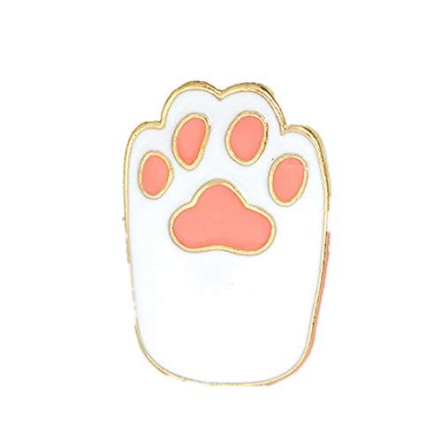 Ellepigy Cute Cat Claw Brosche Pins Schmuck Kleidung Taschen Rucksäcke Capel Jacke Badge Zubehör, Weiß -