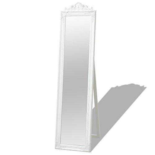 vidaXL Standspiegel Ankleidespiegel im Barock-Stil Landhaus Antik 160x40 cm Weiß