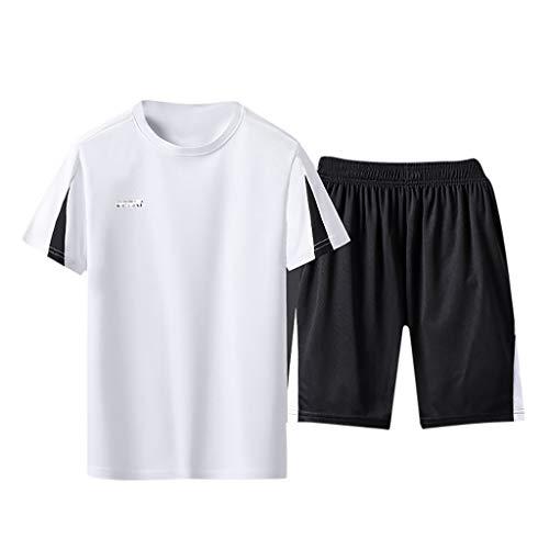 Setsail Herren Trend Casual Fitness schnell trocknend elastische Kurzarm Kurze Hosen Lockerer Komfort Sportanzug Einfach Joker Sets Geeignet für Indoor- und Outdoor-Aktivitäten -