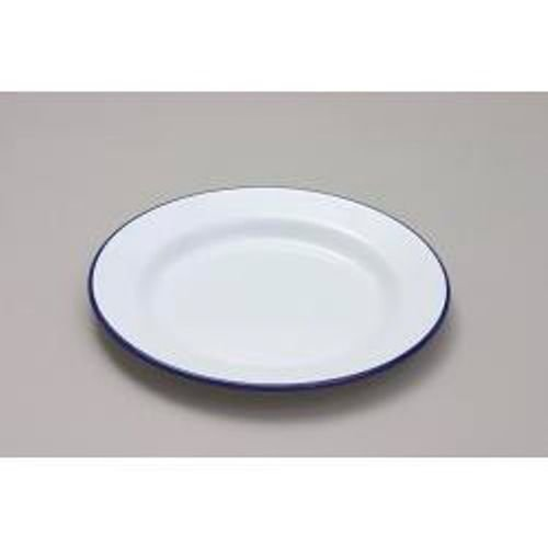 Genware 45024 Enamel Wide Rim Plate, 24 cm, White/Blue