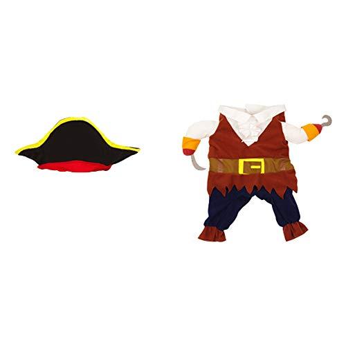 Kostüm Niedliche Piraten - LWAN3 Halloween-Kostüm für Haustiere, niedliches Piraten-Cosplay-Kostüm mit Kappe, Haustier-Zubehör für kleine und mittelgroße Hunde