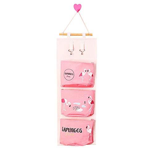 Toruiwa Hängender Organizer Hängeorganizer Flamingo Wand Hängetasche Hängeaufbewahrung Aufbewahrungstasche mit 4 Taschen für Kinderzimmer Badezimmer Schlafzimmer Büro -