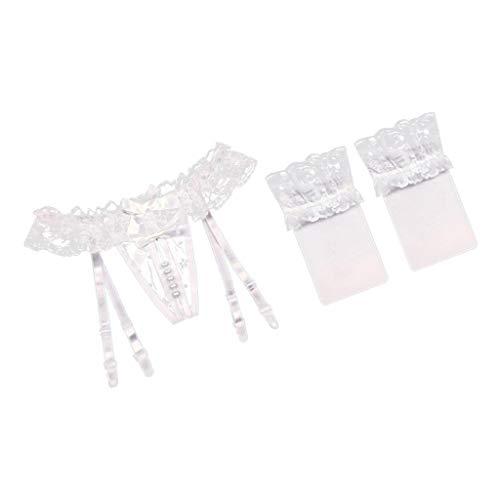 IPOTCH Damen Slips Ketten Panty Perlen Massage String Tanga Shorts Höschen Slip Hose mit Strapsgürtel und Strumpfhose - Weiß + Seidenstrümpfe, Einheitsgröße - 5