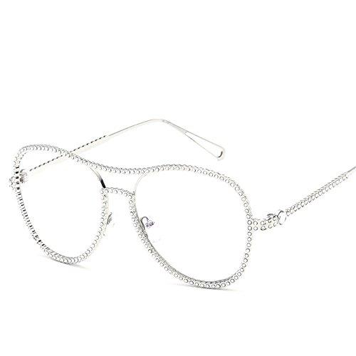 RFVBNM Flachspiegel Männer und Frauen allgemeine Brille Rahmen Diamant-gerahmte Studenten mit Kurzsichtigkeit, Silber Rahmen Spiegel