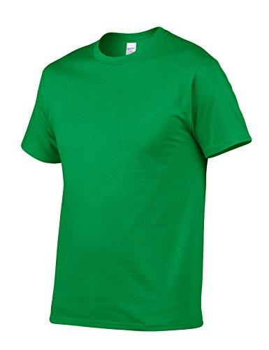Bestgift Herren T-Shirt Kurzarm Baumwolle Tee Solide Farbe Basic Shirt Tops Dunkel Grün