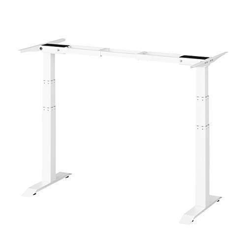 DEVAISE Elektrisch Höhenverstellbar Schreibtisch Tischgestell mit Memory-Steuerung und Softstart/-Stop, 3-Fach-Teleskop, 2 Motoren, Stromspannung 110~240V,106~160cm Länge, Weiß