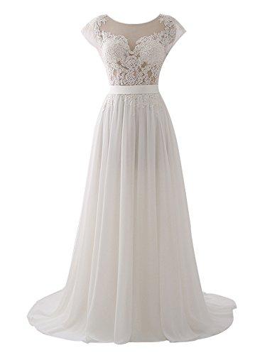 Erosebridal Illusion A Linie Brautkleider 2018 Chiffon Brautkleid Hochzeitskleid Sweep Zug Elfenbein DE36
