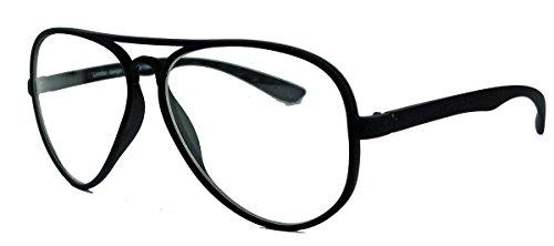 80er Jahre Brillengestell XL Nerdbrille oversized complete lens Aviator Pilotenbrille AV18 (Schwarz Matt)