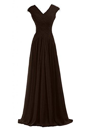 Sunvary motivo pieghettato da donna con scollo a V abito da sera, abiti da damigella d'onore Gowns Pageant Cioccolato