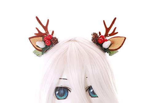 Kawaii-Story C-56-2 Mini REH Rentier Geweih mit Ohren Beeren Tannenzapfen Blätter Fairy Wald Fee Fantasy Kopfschmuck Haar-Clips Gothic Lolita LARP